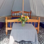 Cosy inside Bell Tent with beds