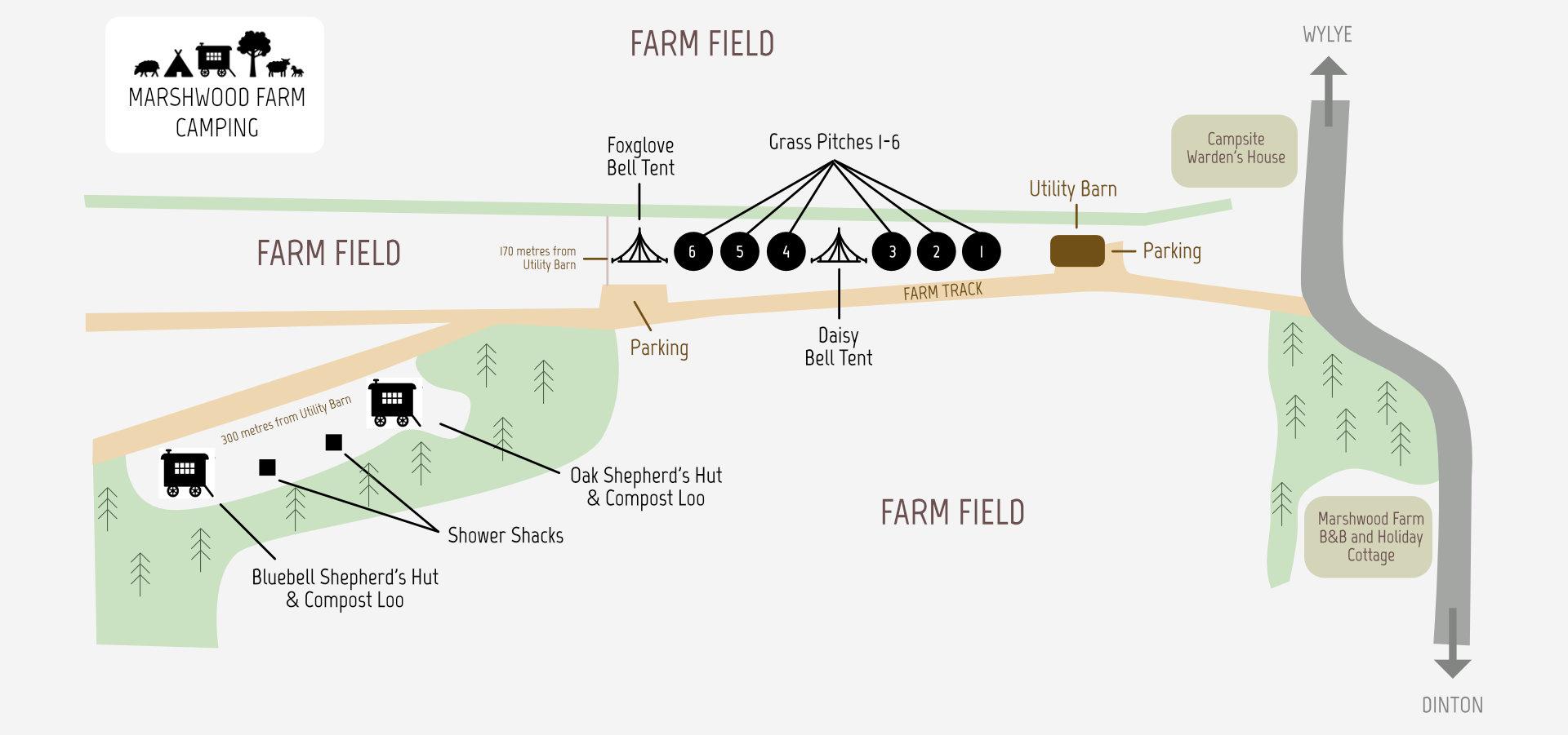 Marshwood Farm Campsite Map